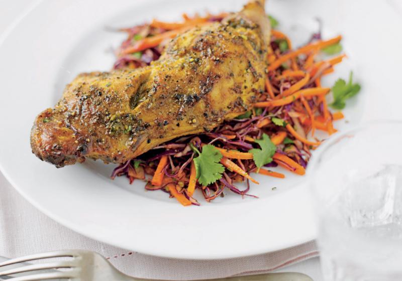 Snadné indické kuře se zelným salátem
