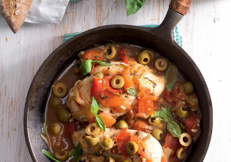 Kuřecí prsa s rajčatovo-olivovou omáčkou
