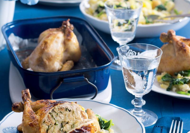 Jarní kuře & šťouchané brambory se špenátem