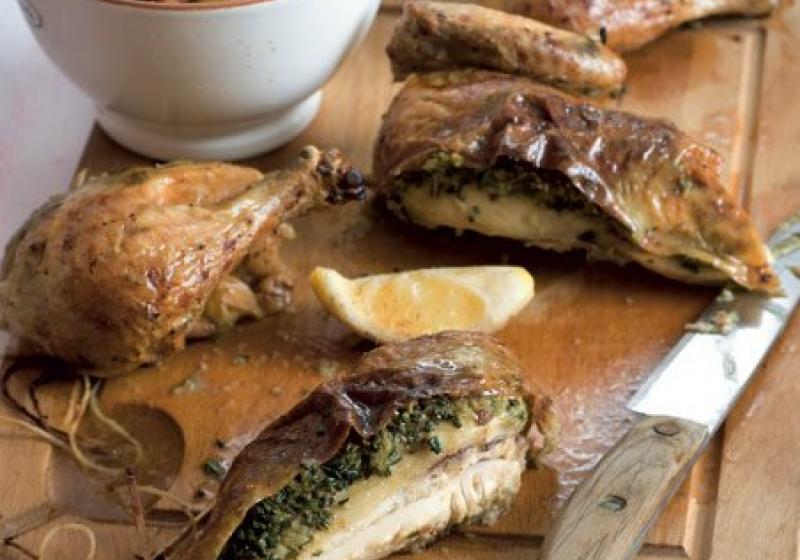 Česnekové kuře s rozmarýnem a pancettou