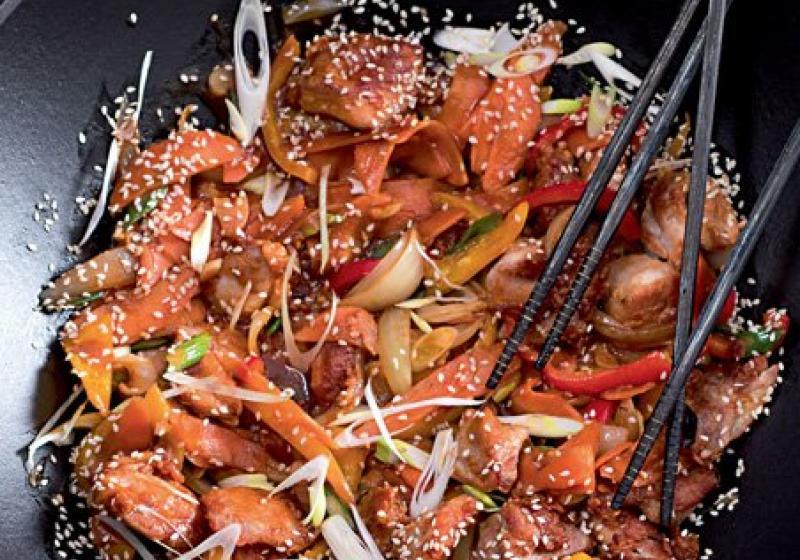 Sladkokyselé kuře & paprika ve woku