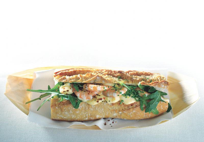 Bageta s krevetovou majonézou