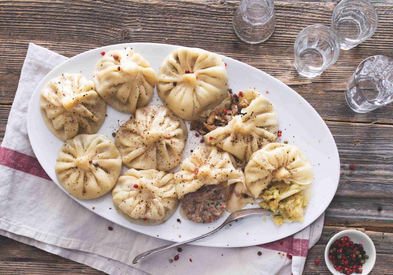 Gruzínské chinkali se třemi různými náplněmi