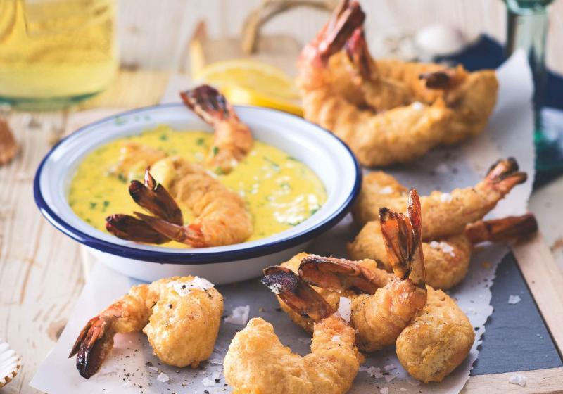 Krevety v pivním těstíčku s citronovou majonézou