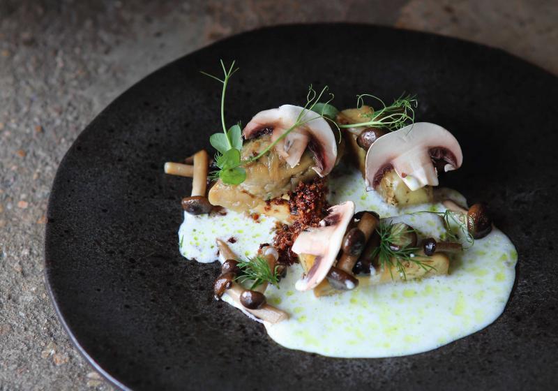 Grilování: Lilek na grilu s houbami a omáčkou z podmáslí
