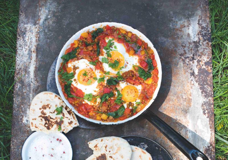 Papriky s čočkou a vejci