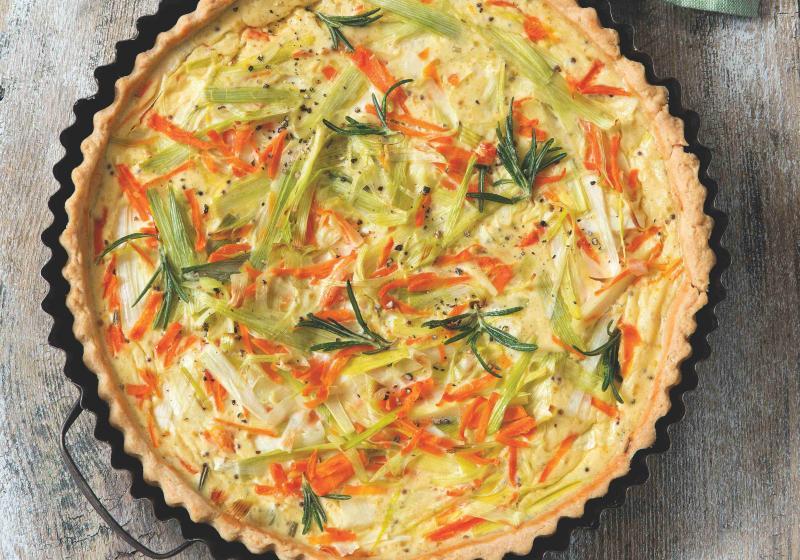 Pórkový koláč s hořčicí a mrkví