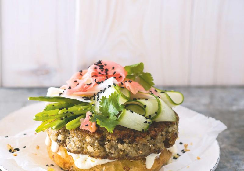 Quinoový burger se žampiony