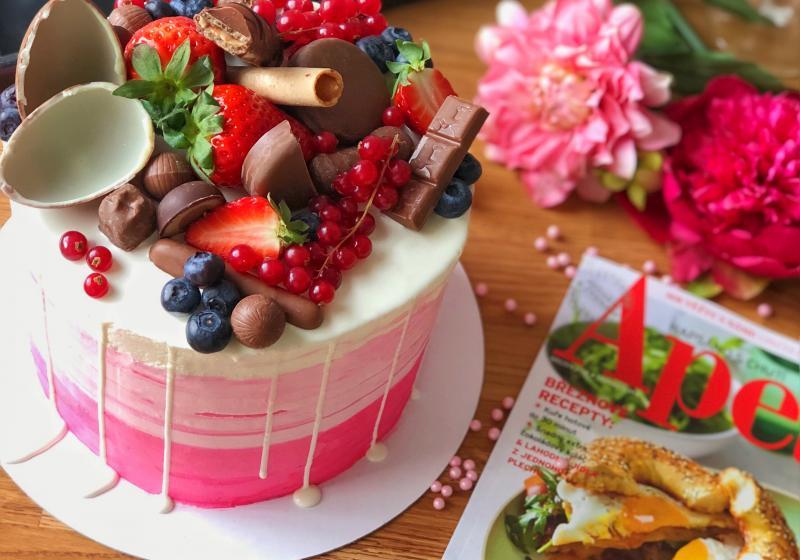Narozeninový ombré dort