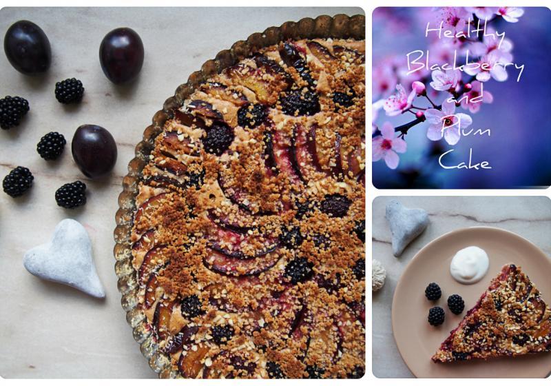 Dietní švestkovo-ostružinový koláč