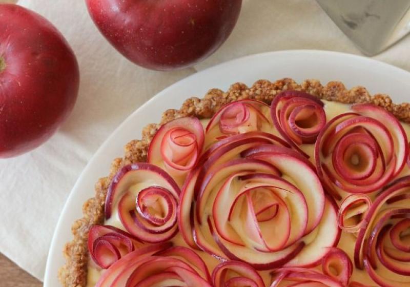 Apple Walnut Tart with Maple Custard