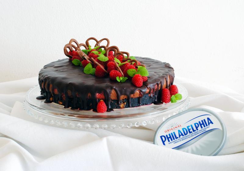 Čokoládovo malinový cheesecake