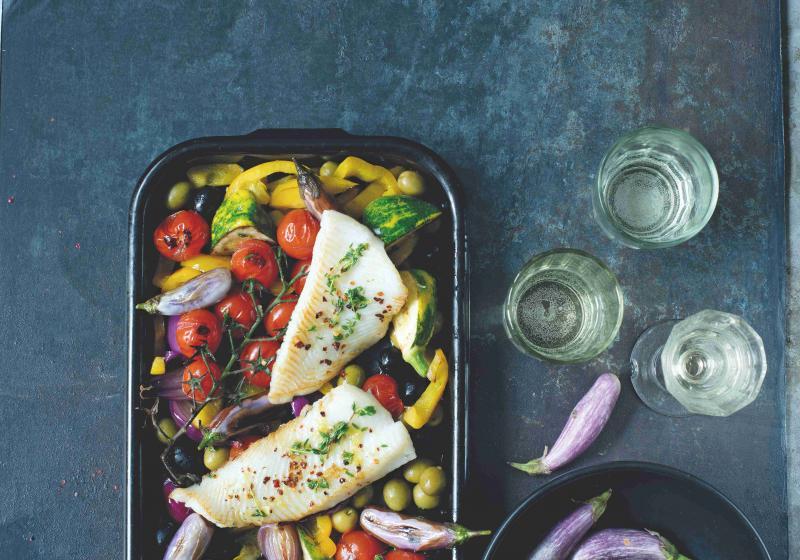 Ryba na víně se zeleninou
