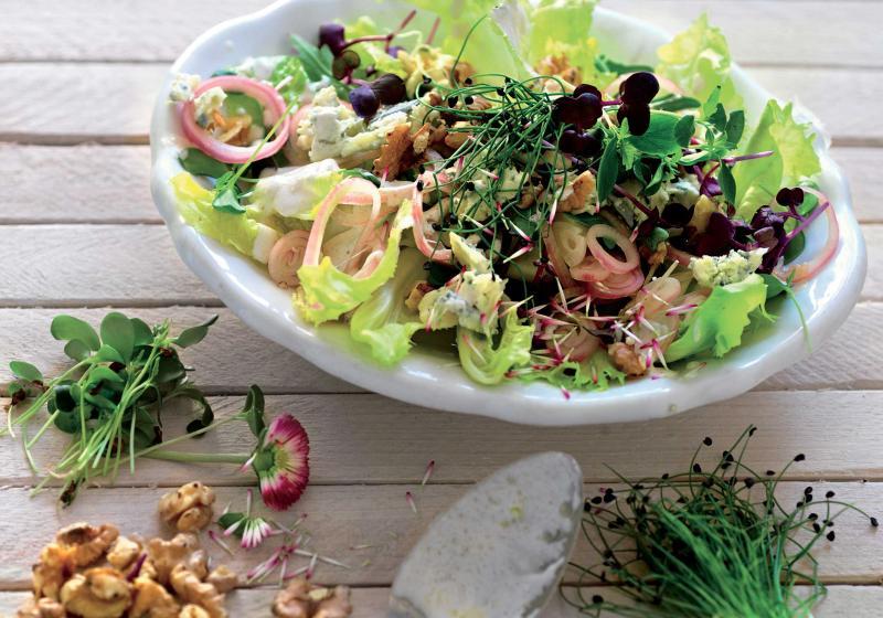 Salát s cibulí a ořechy