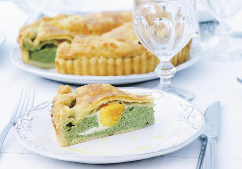 Slaný koláč se špenátem a ricottou