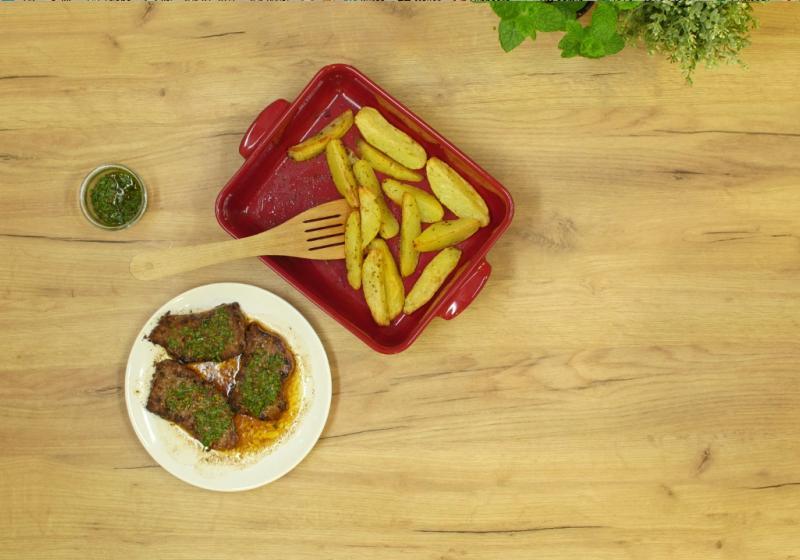 Strip loin steaky aux champignons (Steaky s nízkého roštěnce se žampiony)