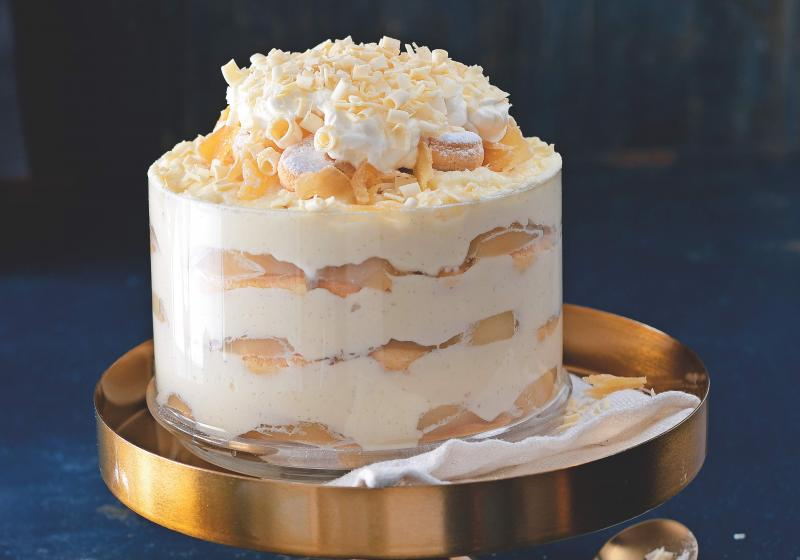 Trifle z bílé čokolády s hruškami