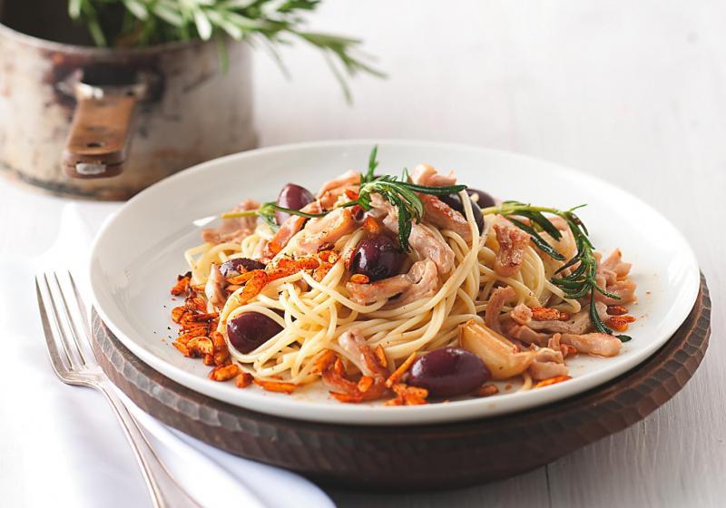 Špagety s králíkem a olivami