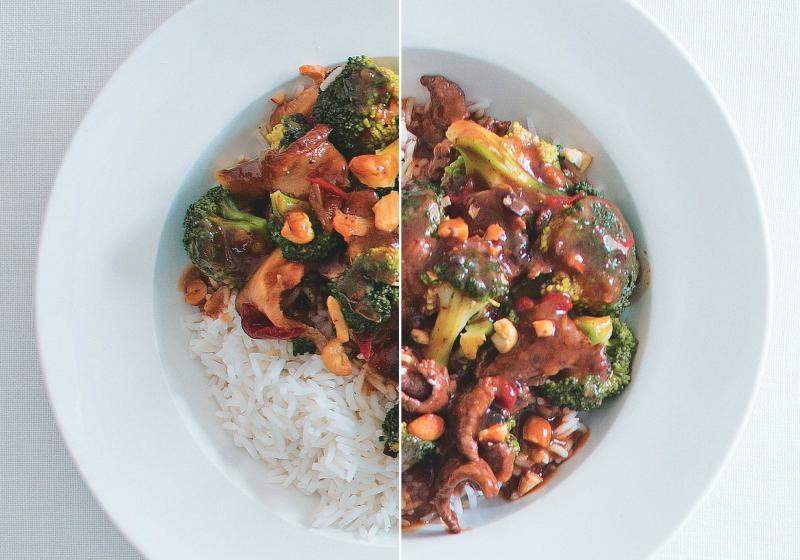 Wok s brokolicí a omáčkou z černých fazolí + hovězí steak
